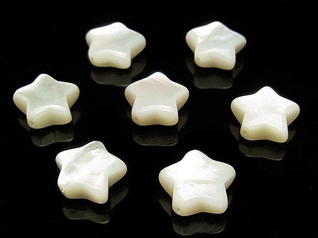 ビーズ天然石【粒販売】ホワイトシェル スター 10×4mm【4粒販売 450円】とパワーストーン