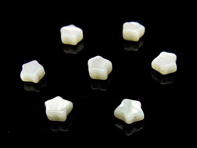天然石【粒販売】ホワイトシェル スター 6×3mm【7粒販売 420円】ビーズとパワーストーン