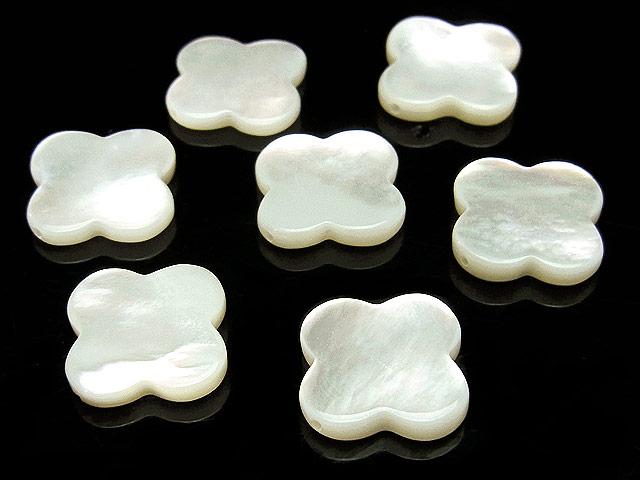 天然石【粒販売】ホワイトシェル クローバー 15×3mm No.2【3粒販売 600円】ビーズとパワーストーン