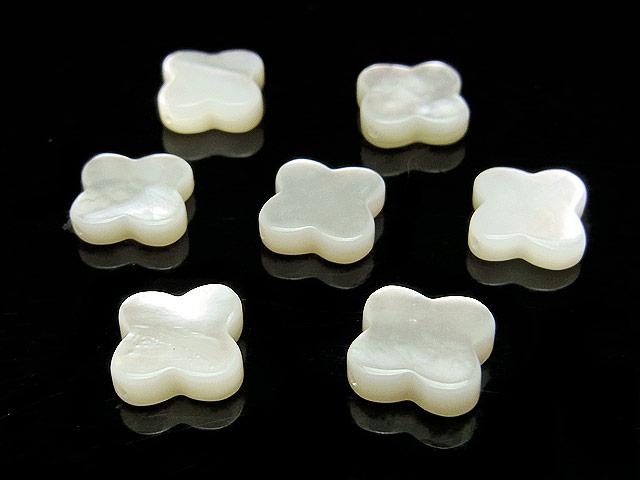 天然石【粒販売】ホワイトシェル クローバー 10×2mm【4粒販売 420円】ビーズとパワーストーン