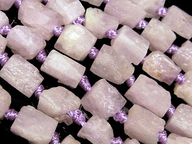 天然石【連販売】ナイジェリア産 クンツァイト ラフロック 6〜10mm【1連 1,600円】ビーズとパワーストーン