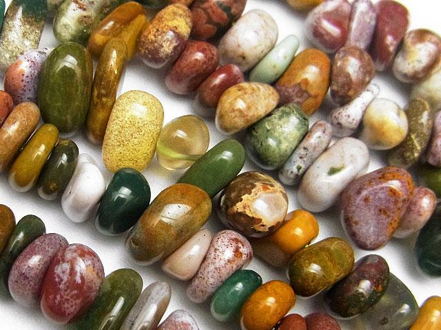 天然石【連販売】オーシャンジャスパー ナゲットチップ 5〜11mm[ロング連]【1連 600円】ビーズとパワーストーン