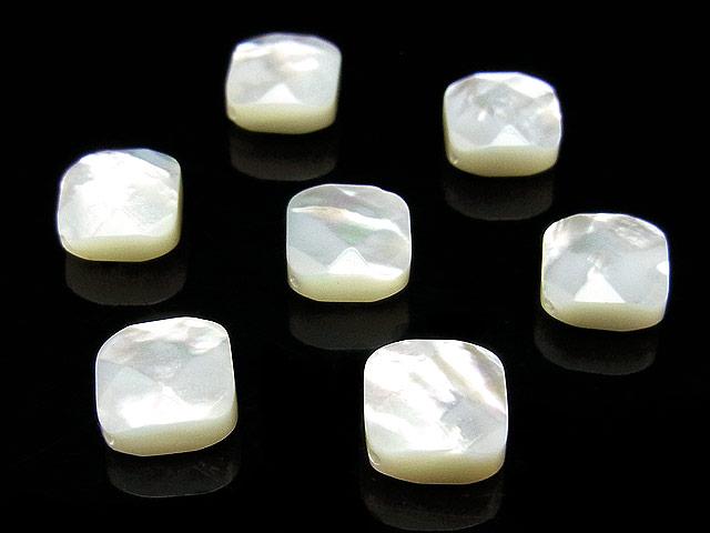 天然石【粒販売】ホワイトシェル ロンバスカット 8×4mm【4粒販売 480円】ビーズとパワーストーン