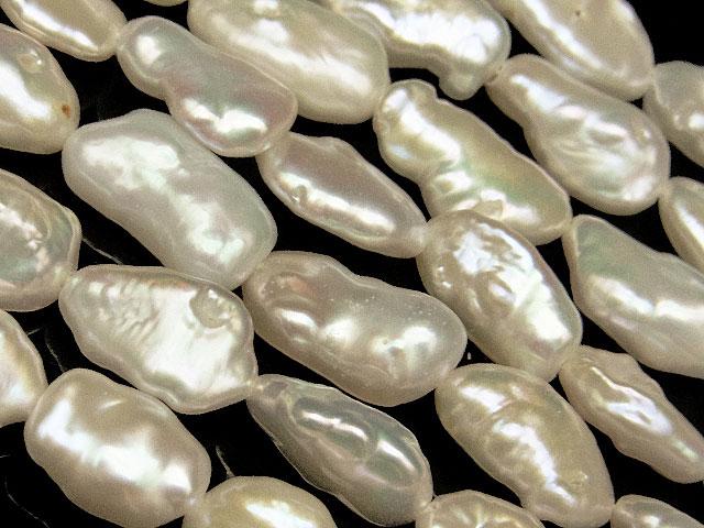 天然石【連販売】淡水真珠 ホワイトケシパール バロック 9〜16mm【1連 700円】ビーズとパワーストーン