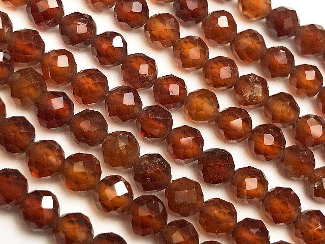 天然石【連販売】オレンジガーネット(ヘソナイト) 面カット 丸玉 4mm【1連 1,400円】ビーズとパワーストーン