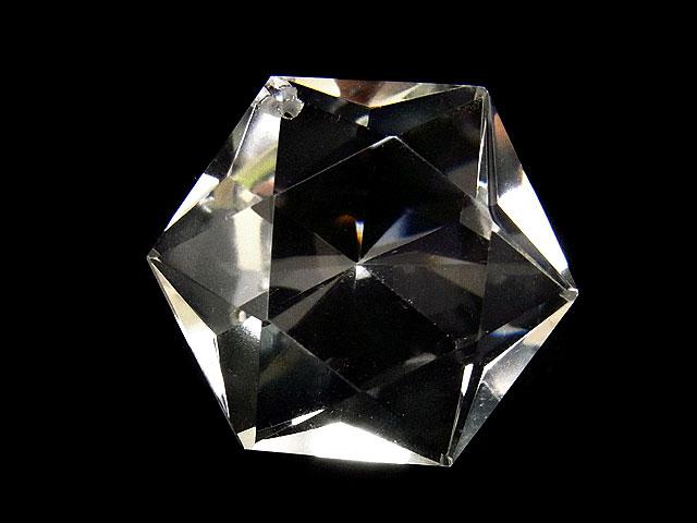 天然石天然水晶 クリスタルクォーツ 六芒星型 ペンダントトップ 30mm[ファセットカット]【1コ販売 2,000円】ビーズとパワーストーン