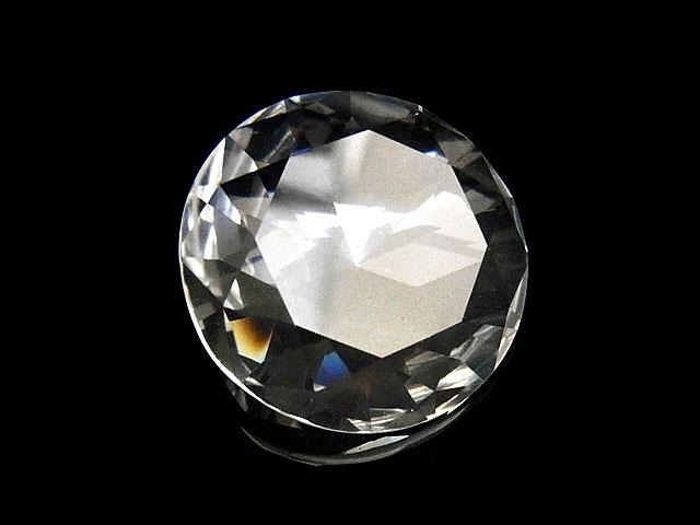 天然石【粒販売】天然水晶 クリスタルクォーツ コイン型 ルース 25mm[ファセットカット]【1コ販売 2,500円】ビーズとパワーストーン