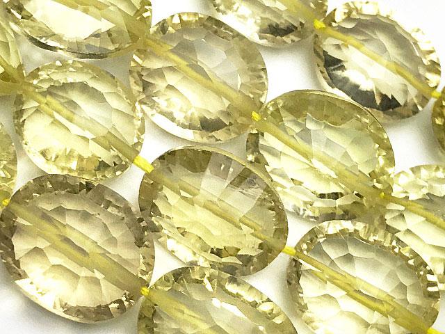 天然石【連販売】レモンクォーツ オーバルカット 10〜13mm[コンケーブカット]【半連 3,190円〜】ビーズとパワーストーン