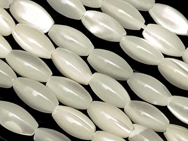 ビーズ天然石【連販売】マザーオブパール ホワイト ライス 6×4mm【1連 300円】とパワーストーン
