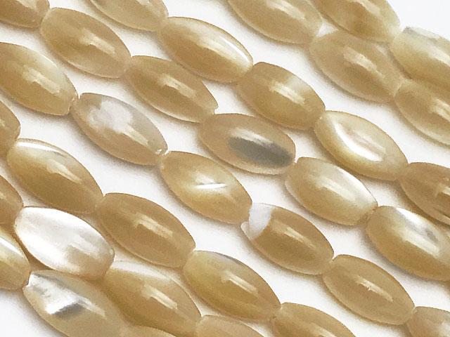 ビーズ天然石【連販売】マザーオブパール ベージュ ライス 6×4mm【1連 300円】とパワーストーン