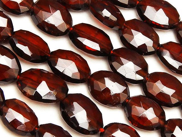 天然石【連販売】モザンビーク産 ガーネット オーバル 6〜9mm【半連 2,640円〜】ビーズとパワーストーン