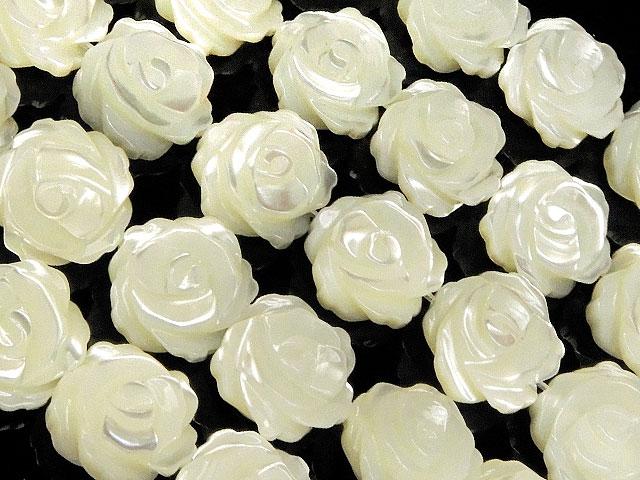 天然石【連販売】マザーオブパール ホワイト 薔薇彫刻 10mm【1連 3,800円】ビーズとパワーストーン