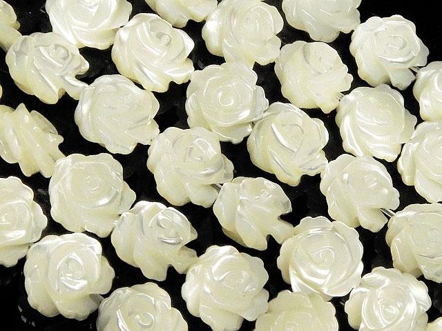 天然石【連販売】マザーオブパール ホワイト 薔薇彫刻 8mm【1連 4,800円】ビーズとパワーストーン
