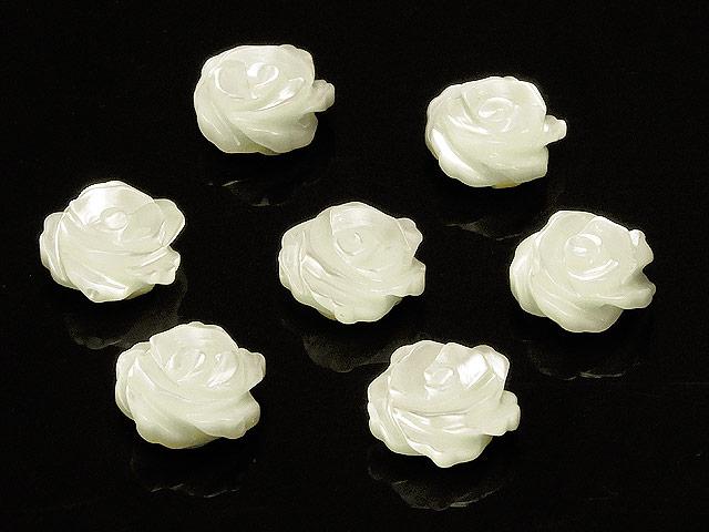 ビーズ天然石【粒販売】マザーオブパール ホワイト 薔薇彫刻 10×5mm【4粒販売 650円】とパワーストーン