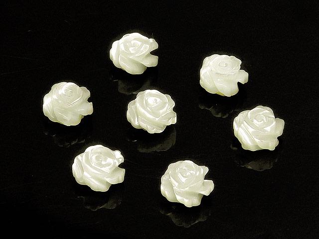 ビーズ天然石【粒販売】マザーオブパール ホワイト 薔薇彫刻 8×5mm【4粒販売 650円】とパワーストーン