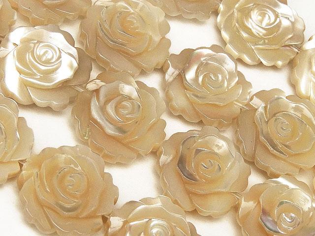 ビーズ天然石【連販売】マザーオブパール ベージュ 薔薇彫刻 12mm【1連 3,400円】とパワーストーン