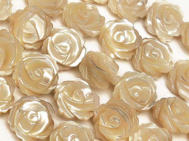 ビーズ天然石【連販売】マザーオブパール ベージュ 薔薇彫刻 10mm【1連 3,800円】とパワーストーン
