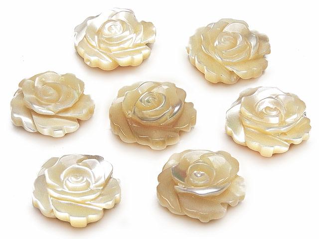 ビーズ天然石【粒販売】マザーオブパール ベージュ 薔薇彫刻 12mm【4粒販売 760円】とパワーストーン