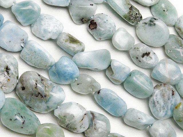 天然石【連販売】ラリマー ナゲット 4〜13mm【1連 900円】ビーズとパワーストーン