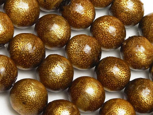 天然石【連販売】ゴールドコーラル(金珊瑚)丸玉 10mm【半連 1,210円〜】ビーズとパワーストーン