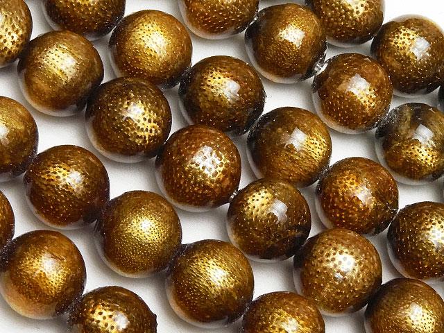 天然石【連販売】ゴールドコーラル(金珊瑚)丸玉 8mm【半連 990円〜】ビーズとパワーストーン