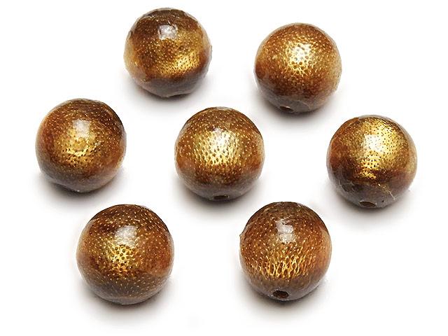 天然石ビーズ【粒販売】ゴールドコーラル(金珊瑚)丸玉 10mm【5粒販売 480円】とパワーストーン