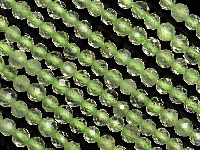天然石【連販売】プレナイト 面カット 丸玉 2mm【1連 700円】ビーズとパワーストーン