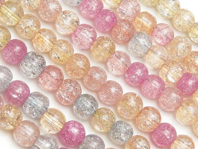 天然石【連販売】マルチカラー クラッククリスタル 丸玉 4mm No.3【1連 300円】ビーズとパワーストーン