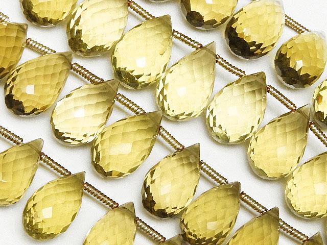 天然石【連販売】レモンクォーツ ドロップカット 10〜14mm[プレミアムカット]【1連 4,500円】ビーズとパワーストーン