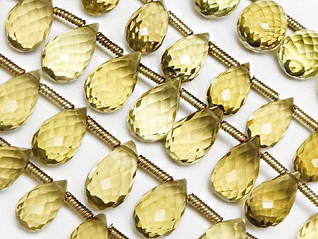 天然石【連販売】レモンクォーツ ドロップカット 8〜11mm[プレミアムカット]【1連 2,800円】ビーズとパワーストーン