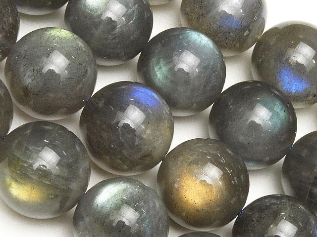 天然石【連販売】ラブラドライト 丸玉 14mm【半連 6,490円〜】ビーズとパワーストーン