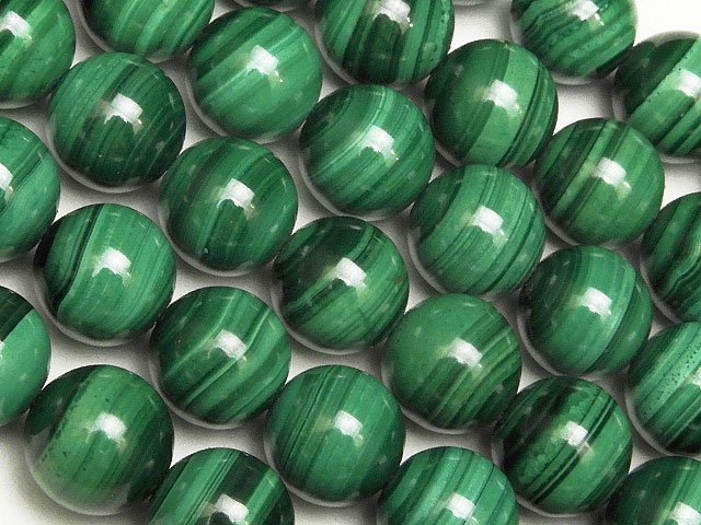 天然石【連販売】マラカイト 丸玉 8mm No.4【半連 1,100円〜】ビーズとパワーストーン