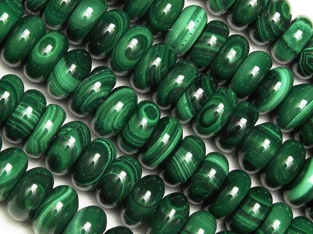 天然石【連販売】マラカイト ロンデル 7mm【半連 1,100円〜】ビーズとパワーストーン
