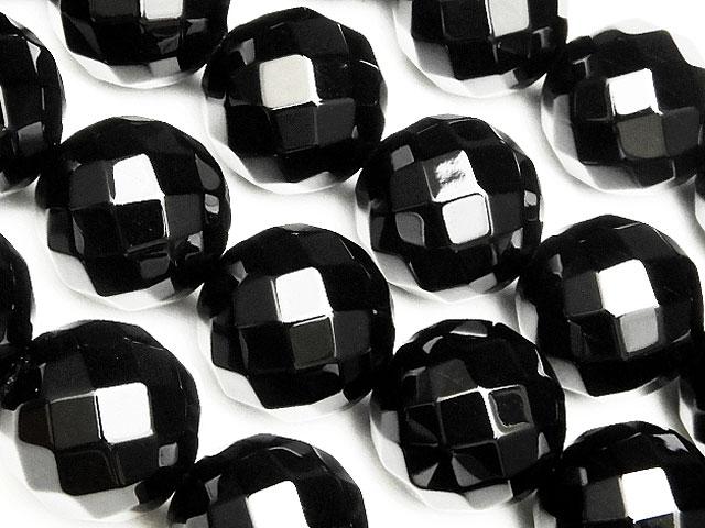 天然石【連販売】オニキス 64面カット 丸玉 14mm【1連 1,200円】ビーズとパワーストーン
