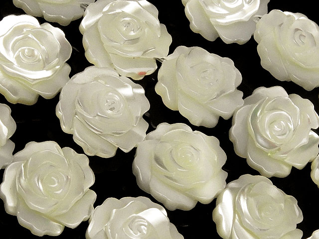 天然石やビーズとパワーストーンの通販サイト【連販売】マザーオブパール ホワイト 薔薇彫刻 12mm【1連 3,400円】