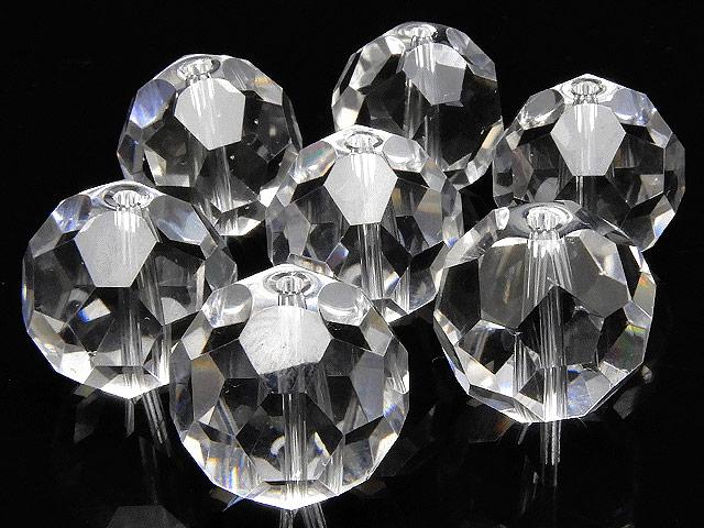 天然石【粒販売】天然水晶 クリスタルクォーツ バッキーボールカット 丸玉 14mm[プレミアムカット]【3粒販売 900円】ビーズとパワーストーン