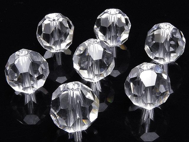 天然石【粒販売】天然水晶 クリスタルクォーツ バッキーボールカット 丸玉 10mm[プレミアムカット]【4粒販売 600円】ビーズとパワーストーン