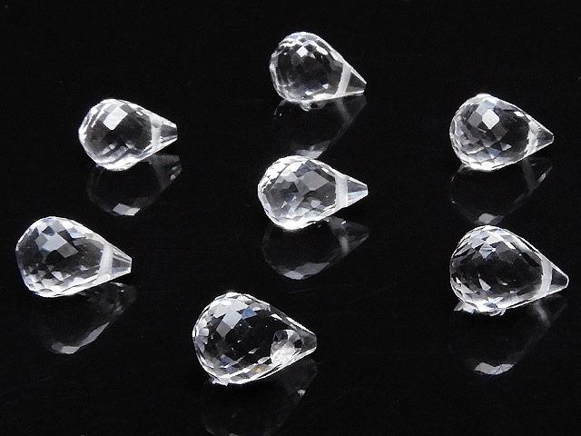 天然石【粒販売】天然水晶 クリスタルクォーツ ドロップカット 7〜8mm[プレミアムカット]【3粒販売 540円】ビーズとパワーストーン