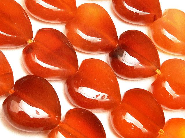天然石【連販売】カーネリアン ハート 12mm【1連 1,100円】ビーズとパワーストーン