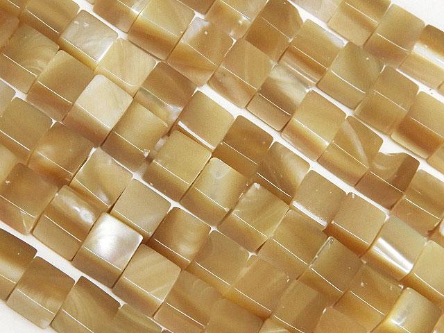 天然石【連販売】マザーオブパール ベージュ キューブ 4mm【1連 900円】ビーズとパワーストーン