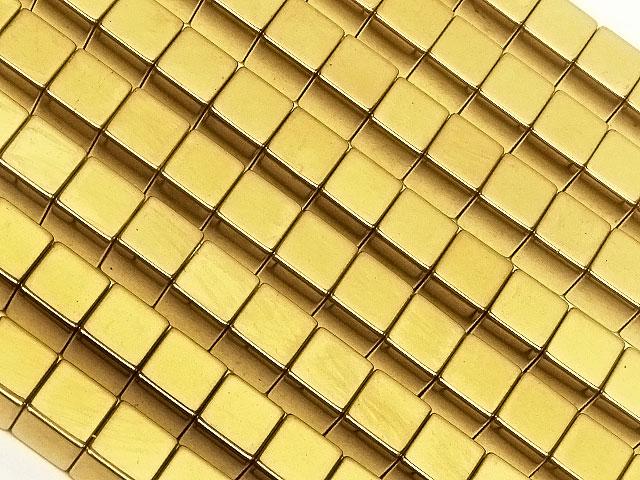天然石【連販売】ヘマタイト ゴールドメッキコーティング キューブ 4mm【1連 600円】ビーズとパワーストーン