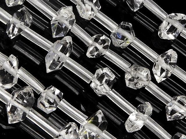 天然石【連販売】ニューヨーク産 ハーキマーダイヤモンド 原石ビーズ 3〜10mm【半連 7,040円〜】ビーズとパワーストーン