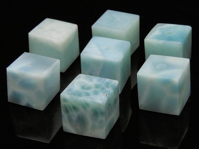 天然石【粒販売】ラリマー キューブ 10mm【2粒販売 6,320円】ビーズとパワーストーン
