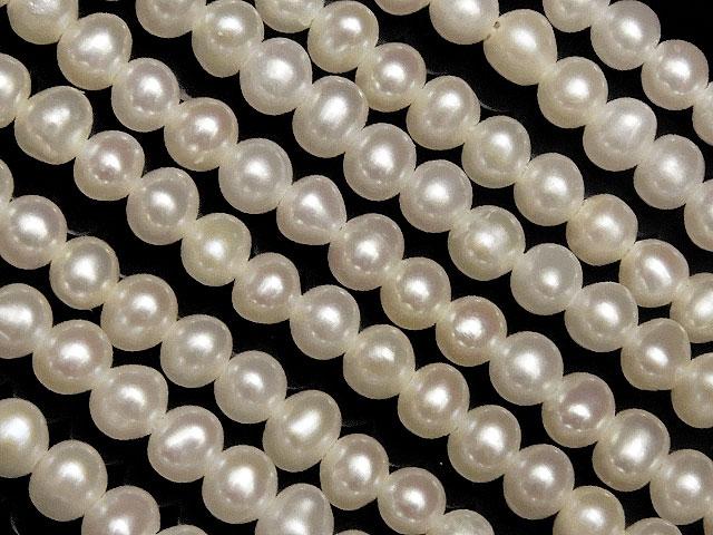 天然石【連販売】淡水真珠 ホワイトパール ポテト 2mm【1連 2,000円】ビーズとパワーストーン
