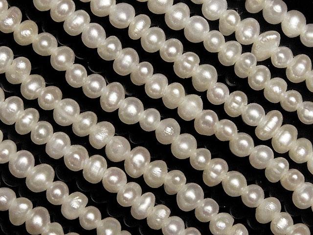 天然石【連販売】淡水真珠 ホワイトパール ポテト 1mm【1連 1,800円】ビーズとパワーストーン