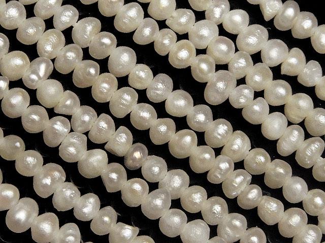天然石【連販売】淡水真珠 ホワイトケシパール ポテト 1〜2mm【1連 900円】ビーズとパワーストーン