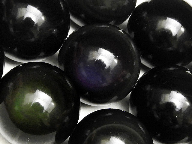 天然石【連販売】レインボーオブシディアン 丸玉 20mm【1連 1,600円】ビーズとパワーストーン