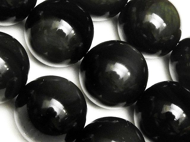 天然石【連販売】レインボーオブシディアン 丸玉 16mm【1連 1,200円】ビーズとパワーストーン
