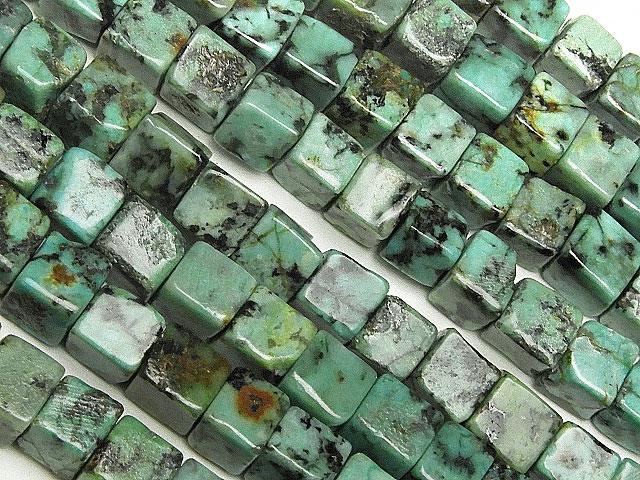 天然石【連販売】アフリカンターコイズ キューブ 5mm【1連 1,300円】ビーズとパワーストーン