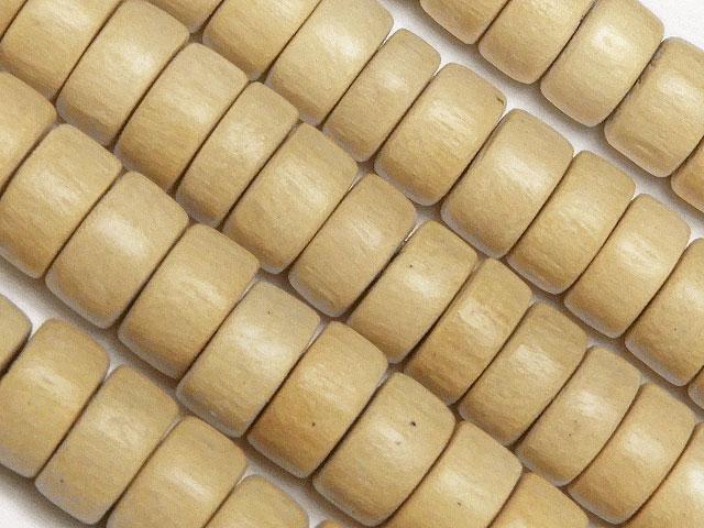 天然石【連販売】[ウッドビーズ]ホワイトウッド ロンデル 8mm【1連 300円】ビーズとパワーストーン